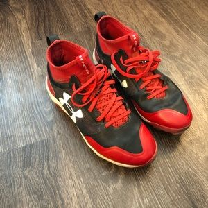 Black & Red Under Armour Heater Baseball Shoes